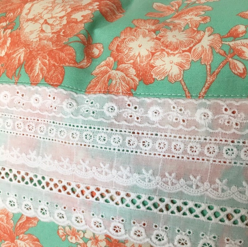 Light Blue Flower Pillow cover 16 x 20 inch pillow cover Blue Floral Pillow Cover Aqua Peach Flower Pillow Cover Lumbar Pillow Accent Pillow