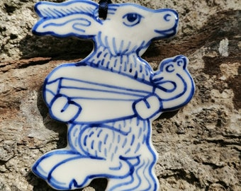 Donkey with lute hand painted porcelain decoration