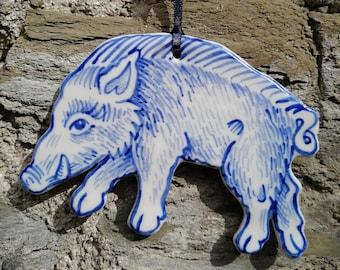 Boar handpainted porcelain decoration