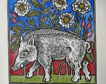 Boar and wild roses hand coloured linoprint