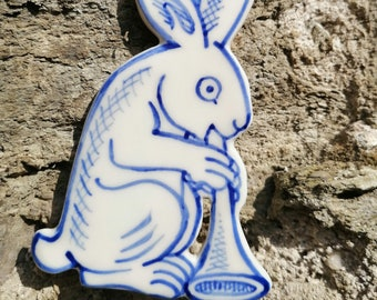 Bunny with trumpet hand painted porcelain decoration