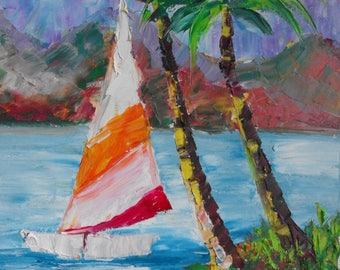 Sailing boat,Oil Paintings,Impressionist art