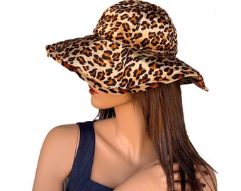 4b9ee57050d82 Shiny Velvet Leopard Print Wide Brim Hat    90s Aesthetic Animal Print  Funky Hat    Crazy Print Hat Adjustable