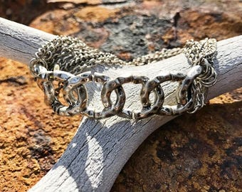 Silver, Multi Chain, Stretch Bracelet, Hammered, Silver Tone, Gift For Her