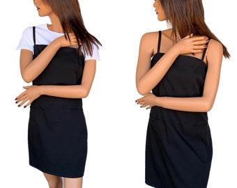 2592090114d 90 s Coverall Dress Black Minimalist Dress  Rachel Green Style Dress Size M