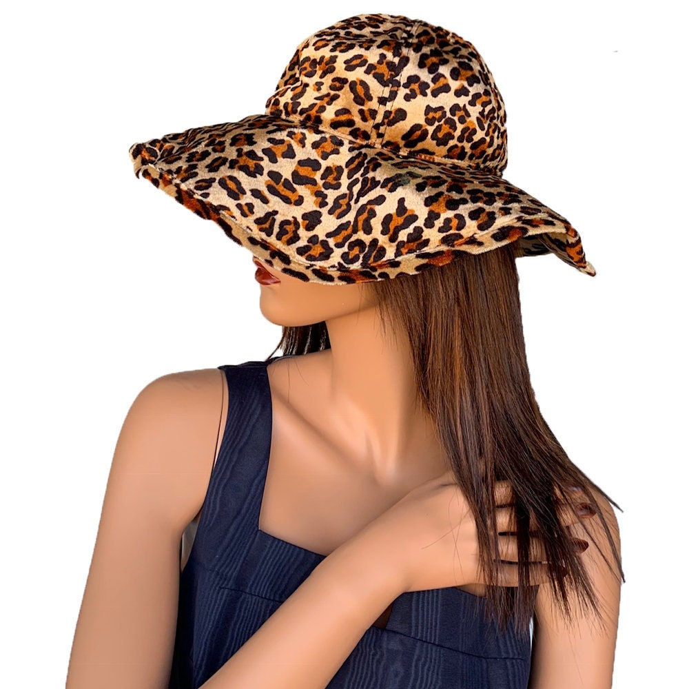 9b30ea563522f Shiny Velvet Leopard Print Wide Brim Hat    90s Aesthetic