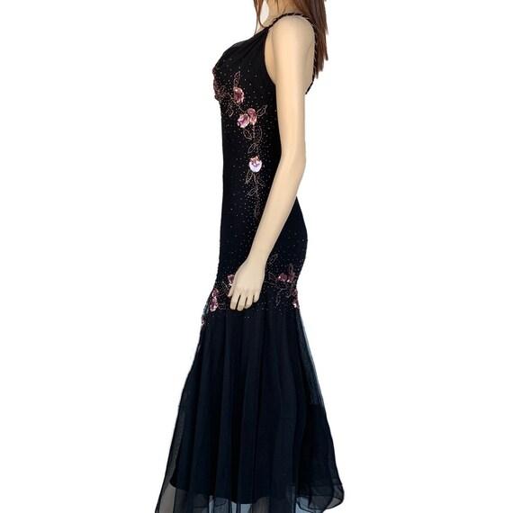Floral Maxi Dress 90's Vintage Size 12P Beaded Fl… - image 5
