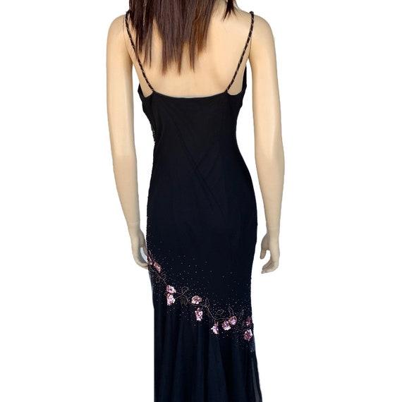 Floral Maxi Dress 90's Vintage Size 12P Beaded Fl… - image 6