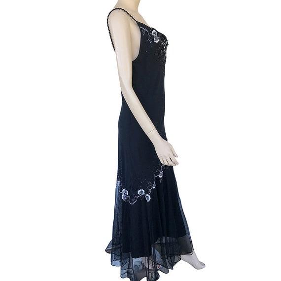 Floral Maxi Dress 90's Vintage Size 12P Beaded Fl… - image 2