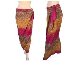 90's Vintage Hawaiian Skirt Tie Skirt Tropical Hawaii Honolulu Lulu  100% Silk Size 8 Colorful Pink Burnt Orange