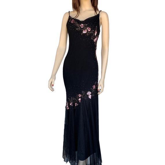 Floral Maxi Dress 90's Vintage Size 12P Beaded Fl… - image 3