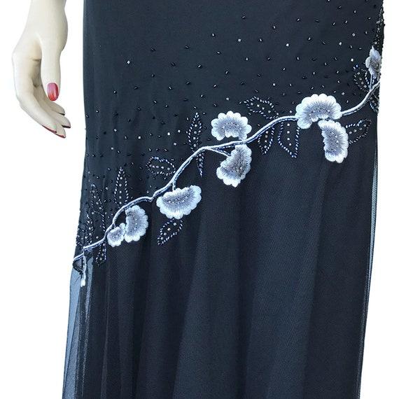 Floral Maxi Dress 90's Vintage Size 12P Beaded Fl… - image 7