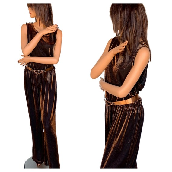 80s Metallic Copper Jumpsuit/ 1980s/Sleeveless