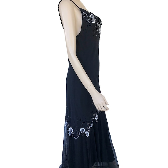 Floral Maxi Dress 90's Vintage Size 12P Beaded Fl… - image 4