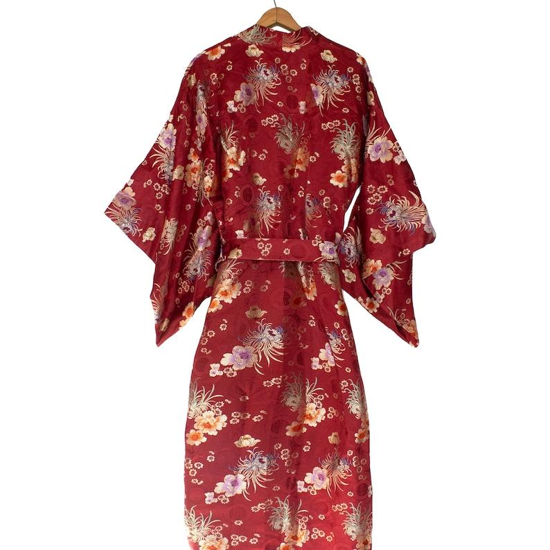 Vintage Kimono Floral Embroidered Robe Size S