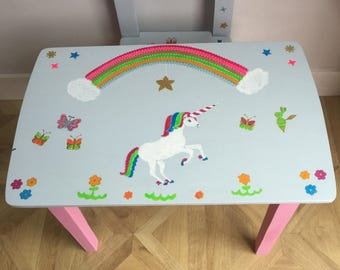 3a5a2c65a Upcycled Hand Painted Wooden Child s Table   Chair
