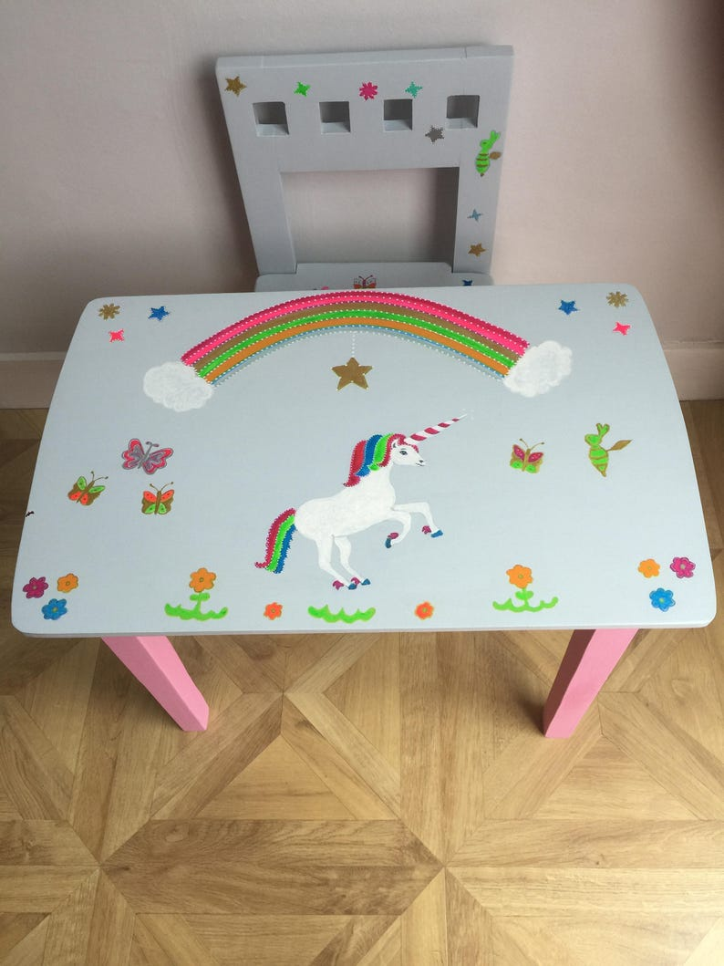 Miraculous Upcycled Hand Painted Wooden Childs Table Chair Unique Unicorn Design Rainbow Butterflies Bee Flowers Stars Scene Suit Age 2 5 Complete Home Design Collection Barbaintelli Responsecom