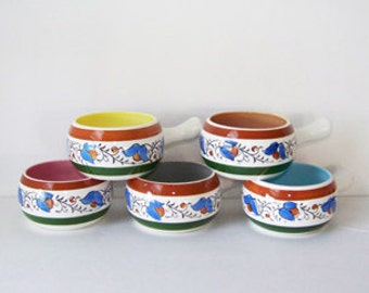 Set of Five Colored Crocks / Made in Japan / Oven Proof 50/6