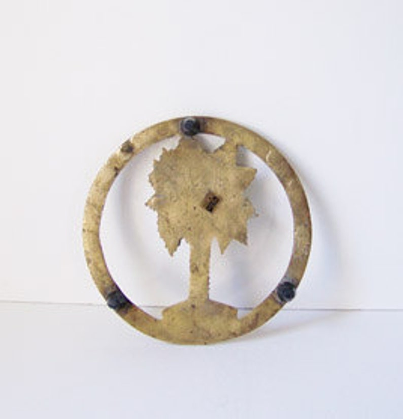 Vintage Brass Palm Tree Trivet  Brass Plant Stand  Wall Hanging