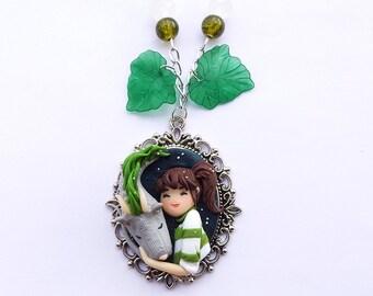 Spirited Away Necklace, Haku And Chihiro, Studio Ghibli Clay Jewels, Dragon collar