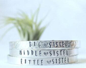 Silver Sister Bracelets, Sister Jewelry, Big Sister, Middle Sister, Little Sister, Inspiration Bracelet, Hand stamped Silver Mantra Bracelet