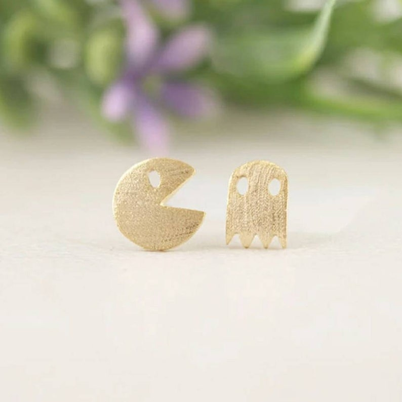Silver Plated Tiny Pacman Stud Earrings Ghost Jewelry for Women Christmas Gift