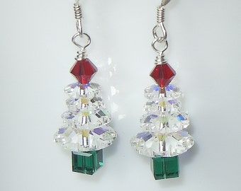 Swarovski Crystal AB, Siam Red and/or Emerald Green Christmas Tree Earrings