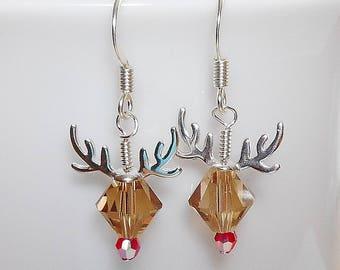 Adorable Reindeer Earrings Made with Swarovski Crystal Beads