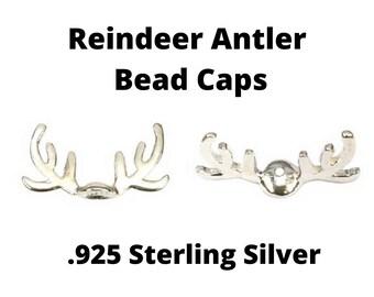 Pack of 2 Sterling Silver Reindeer Antler Bead Caps by Amoracast - 2 Bead Caps Per Package