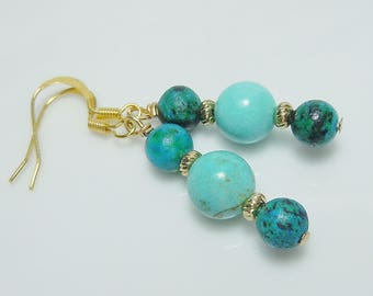 Turquoise Blue and Gold Beaded Earrings