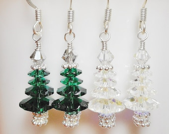 Swarovski Crystal Christmas Holiday Tree Earrings with Silver Accents