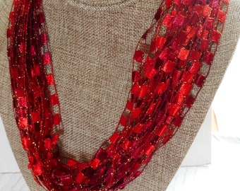 Gorgeous Red Trellis Scarf Necklace with Gold Metallic (SKU 143)