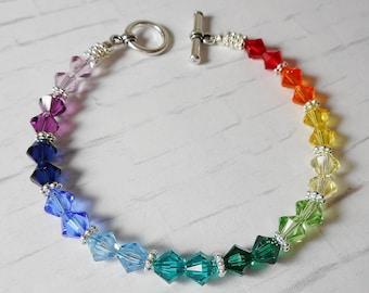 Swarovski Crystal Spectrum Rainbow Beaded Bracelet - Stunning!