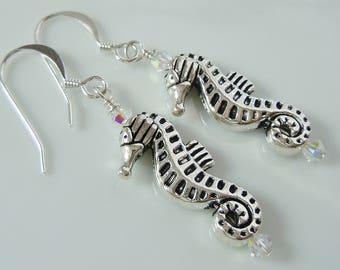 Swarovski Crystal & Silver Seahorse Charm Earrings