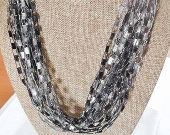 Black and Gray Shades Trellis Scarf Necklace with Silver Metallic  (SKU 105)