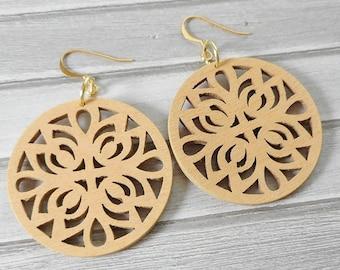 Gorgeous Carved Wood Geometric Drop Earrings