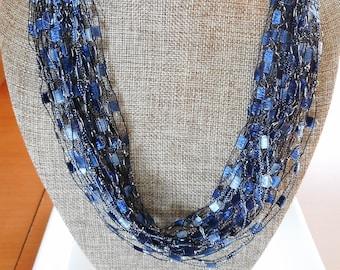 Denim Blue Shades Trellis Scarf Necklace with Silver Metallic (SKU 137)