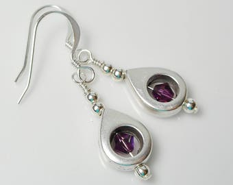 Swarovski Amethyst and Silver Teardrop Dangle Earrings
