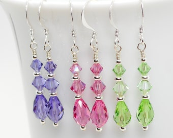 Swarovski Crystal and Silver Beaded Earrings - Choose Your Color