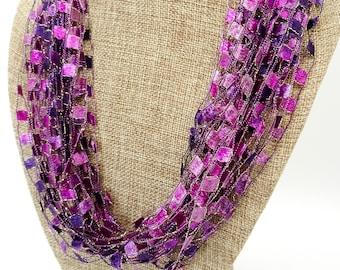 Purple / Fuchsia / Dark Pink Trellis Scarf Necklace with Gold Metallic  (SKU 146)