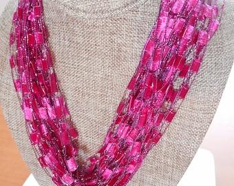Deep Pink Trellis Scarf Necklace with Silver Metallic  (SKU 140)