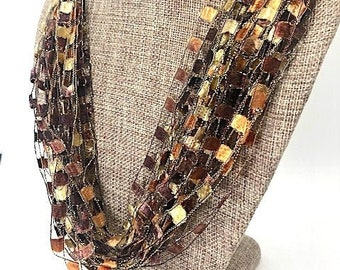 Brown, Copper and Bronze Shades Trellis Scarf Necklace with Gold Metallic (SKU 142)