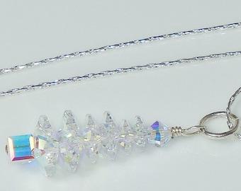 Swarovski Crystal AB Christmas Tree Pendant Necklace