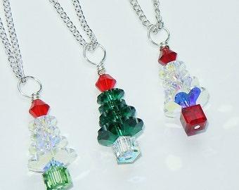 Swarovski Crystal Christmas Tree Pendant Chain Necklace