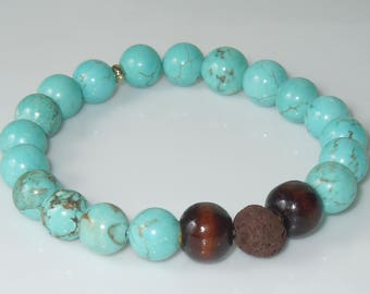 Essential Oil Diffuser Stretch Bracelet Made with Natural Stone Beads