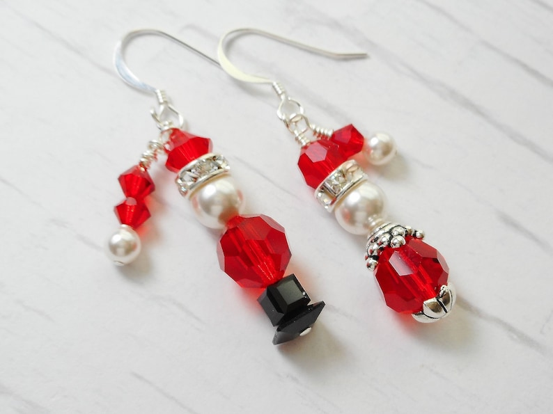 8caf6695d2371 Santa & Mrs. Claus Christmas Earrings Set Made with Swarovski Crystals and  Pearls. So cute!