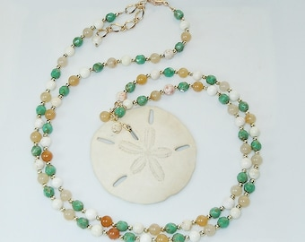 Long Natural Stone Beaded Necklace with Real Sand Dollar Pendant