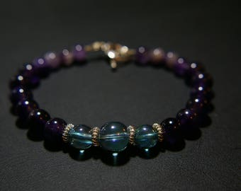 Amethyst Bracelet with Aqua Aura Beads