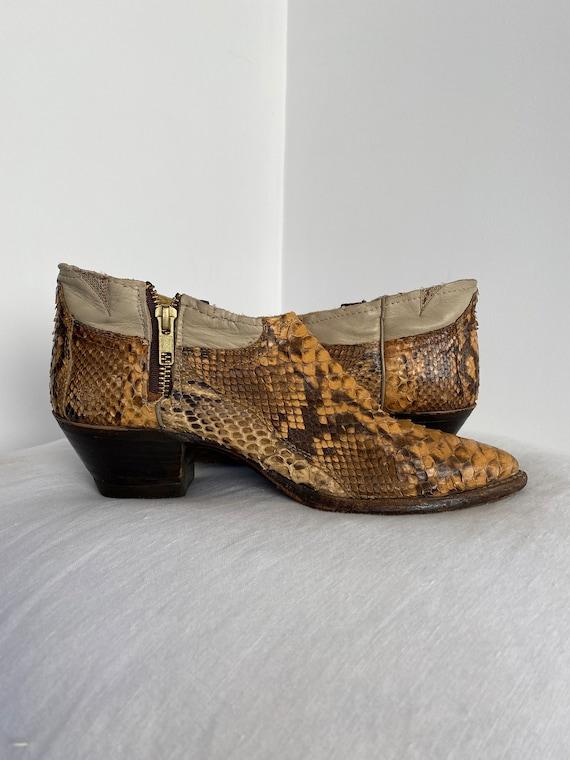 Gorgeous Vintage Genuine Python Ankle Cowboy Boot… - image 7