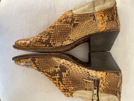 Gorgeous Vintage Genuine Python Ankle Cowboy Boot… - image 10